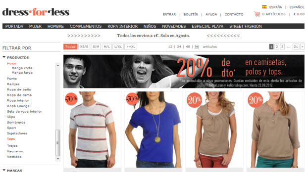 Comprar ropa en Dress-for-less: 20% adicional en cientos de prendas